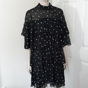 Kate Spade Hearbeat Embroidered Black Dress Sz 6